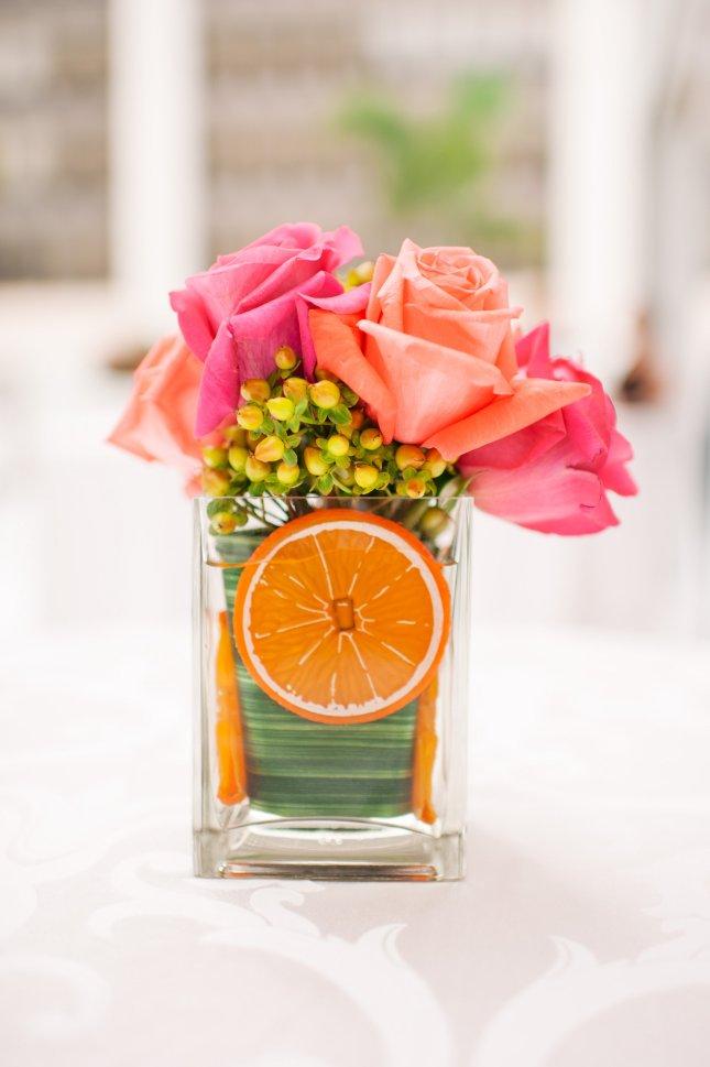 kathy thomas photography, lee james floral, table centerpieces with orange decor, orlando weddings
