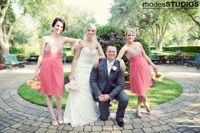 Rhodes Studios, Lee James Floral Design, Orlando weddings, couple and maids