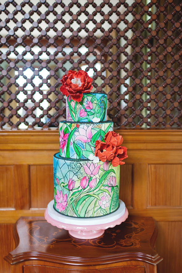 Stained Glass Cake, Stetson Mansion, Andi Mans Photography, Lee James Floral Designs