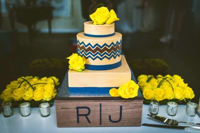 Navy and Yellow Wedding, Chevron Cake-min